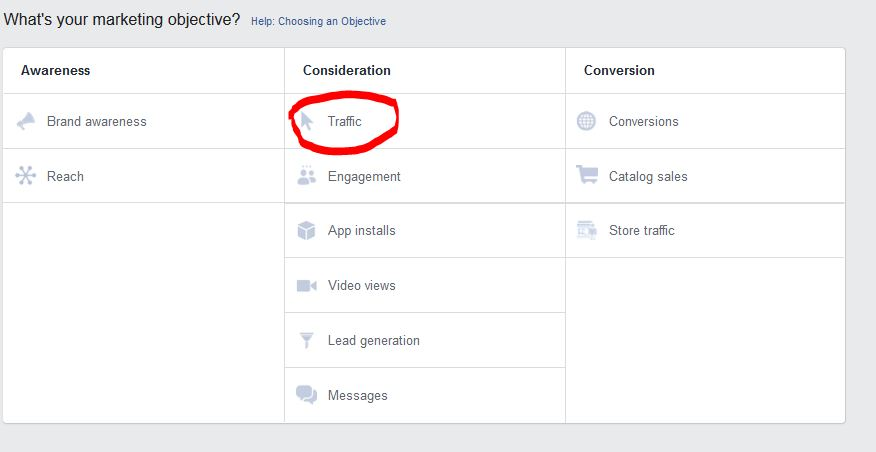 Facebook marketing objective box in Facebook Ad Manager Web Traffic Goal