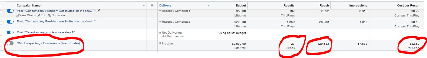 national Facebook advertising campaign results examples showing leads cost per lead