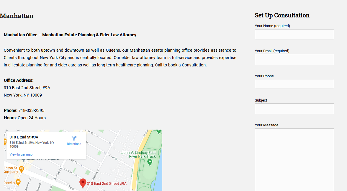 Multi-office law firm location page