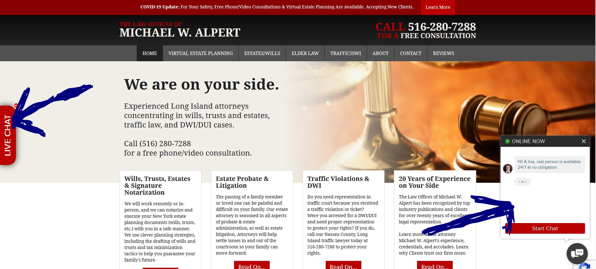The Law Offices of Michael W. Alpert offers chat service on website